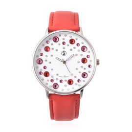 STRADA Japanese Movement Multi Colour Austrian Crystal Studded Water Resistant Watch with Red Colour