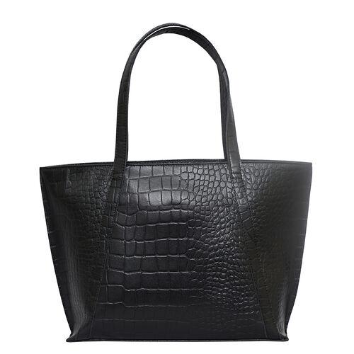 Assots London AGNES Croc Embossed Genuine Leather Tote Bag with Zipper Closure (Size 33x11x26) - Black