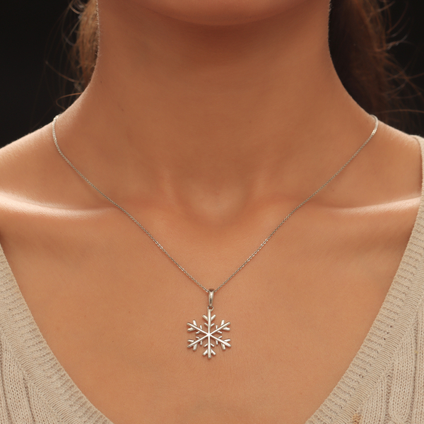 Platinum Overlay Sterling Silver Snowflake Charm