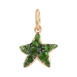 Russian Diopside (Rnd) Star Fish Pendant in 14K Gold and Black Overlay Sterling Silver 1.250 Ct.