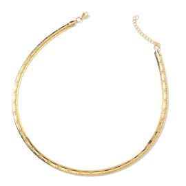 Gold Plated Stainless Steel Collar Necklace (Size 17.5 and 2 inch Extender)