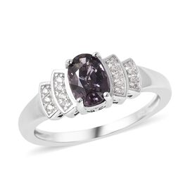 1.14 Ct Lavendar Spinel and Zircon Ballerina Ring in Rhodium Plated Sterling Silver
