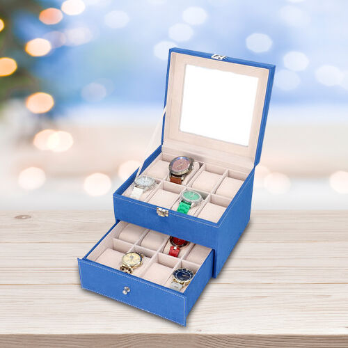 Two-Layer Velvet Watch Box with Glass Window on Top in Royal Blue