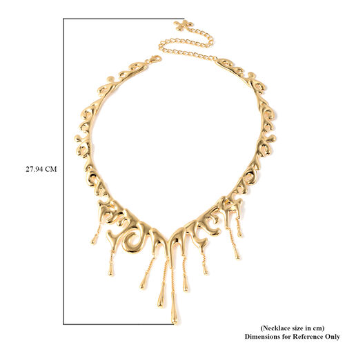 LucyQ Couture Drip Collection - Yellow Gold Overlay Sterling Silver Adjustable Filigree Necklace (Size 16-20), Silver wt. 70.96 Gms