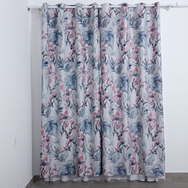 Serenity night brand set of 2 flower pattern blackout curtain Perfect for blocking out sunlight and harmful UV rays from entering your premises Each curtain features 8 metal rings on top