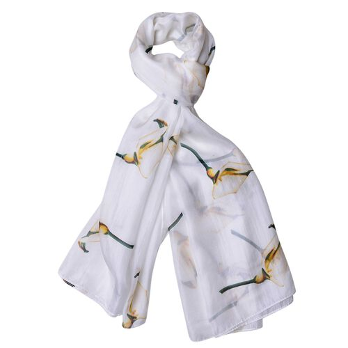 100% Mulberry Silk Yellow, Green and White Colour Calla Lily Pattern Scarf (Size 180X110 Cm)