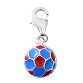 One Time Deal- Multi Colour Enamelled Football Charm in Sterling Silver