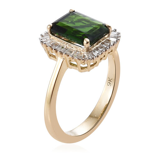 9K Yellow Gold AAA Russian Diopside (Oct), Diamond Ring 2.500 Ct.