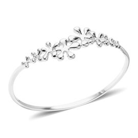 LucyQ Splash Collection - Rhodium Overlay Sterling Silver Bangle (Size 7.5)