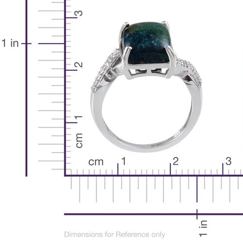Table Mountain Shadowkite (Cush 9.00 Ct), White Topaz Ring in Platinum Overlay Sterling Silver 9.080 Ct.