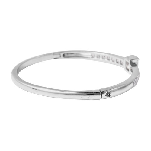 Simulated Diamond Bangle (Size 6.75) in Silver Plated
