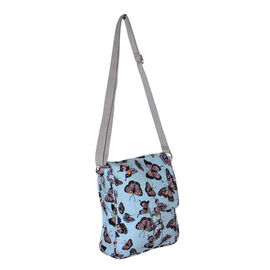 Summer Collection Turquoise Colour Butterfly Pattern Crossbody Bag (26x21x5cm)