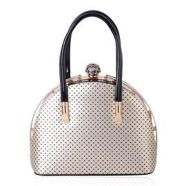 Golden and Black Colour Dots Pattern City Bag (Size 27x20x13 Cm)