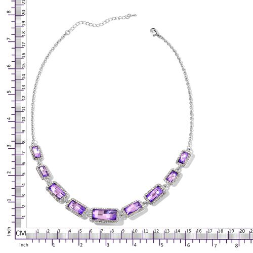 Simulated Amethyst and White Austrian Crystal Necklace (Size 20 with 3 inch Extender) in Silver Tone