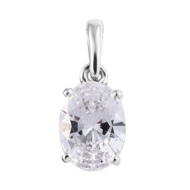 J Francis  9K White Gold (Ovl 8x6) Pendant Made with SWAROVSKI ZIRCONIA