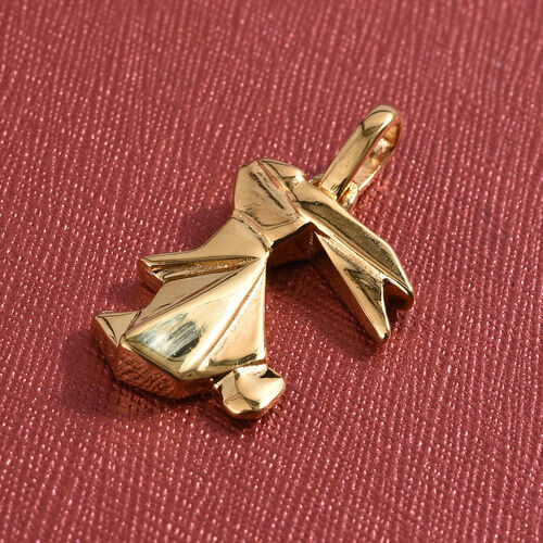 Origami Bunny Pendant in 14K Gold Overlay Sterling Silver