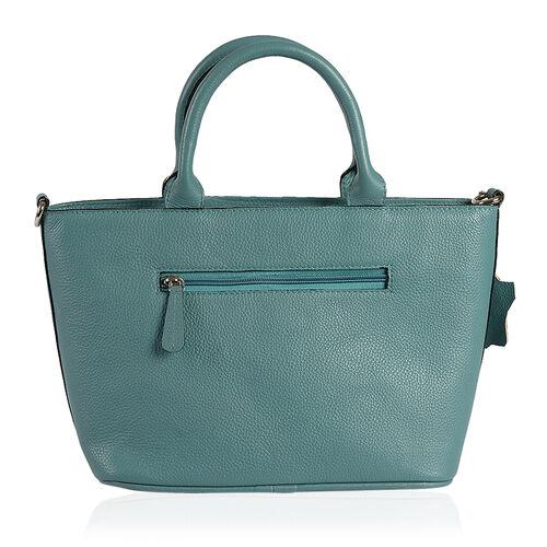 Genuine Leather RFID Blocker Teal Colour Buckle Design Handbag (Size 36X28X21.5X12 Cm)