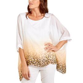 Nova of London Silk Leopard Pattern Top - White