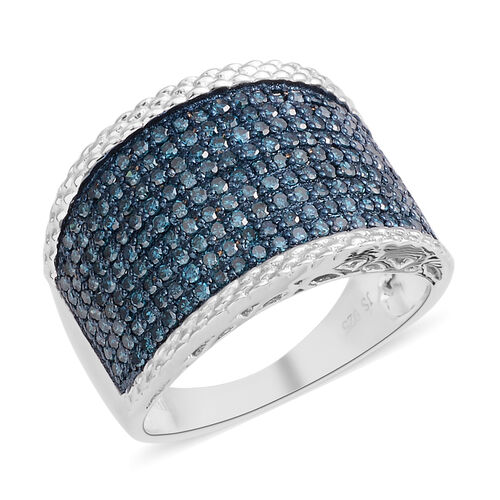 New York Close Out Deal- Blue Diamond (Rnd) Ring in Rhodium Plated Sterling Silver 1.000 Ct. Silver wt 5.00 Gms.