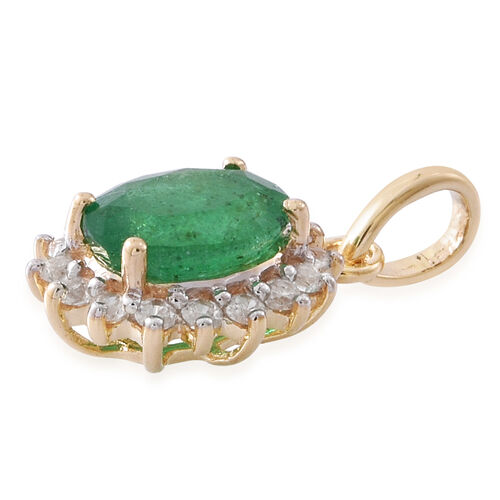 Designer Inspired- Limited Edition- 9K Yellow Gold AA Kagem Zambian Emerald (Ovl 1.15 Ct), Natural White Cambodian Zircon Pendant 1.500 Ct.