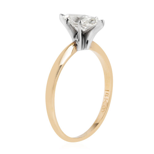 Limited Available- New York Close Out 14K Yellow and White Gold EGL Certified Diamond (Mrq) (I1 - I2 /G - H) Ring 0.750 Ct.
