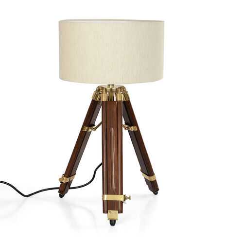 Individually Hand Crafted-Natural Teak Wood Tripod Lamp (81 cm) with Stainless Steel Elements and Brown Colour Linen Lampshade (28x15 Cm)