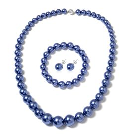 Tanzanite Colour Shell Pearl (Rnd), Graduated Necklace (Size 20) with Magnetic Lock, Strechable Bracelet (Size 7) and Stud Earrings (with Push Back) in Rhodium Plated Sterling Silver