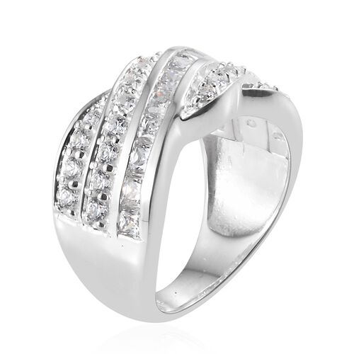 J Francis - Sterling Silver (Rnd and Sqr) Cluster Ring Made with SWAROVSKI ZIRCONIA, Silver wt 5.70 Gms