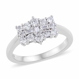 ILIANA 18K White Gold IGI Certified Diamond (Rnd) (SI/G-H) Boat Cluster Ring 0.500 Ct.