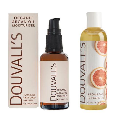 Douvalls: Argan Bath & Shower Oil 250ml, Argan Oil - 50ml & Argan Tribe Bag