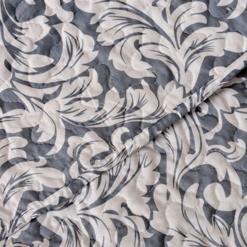 Grey and White Colour Abstract Pattern Microfiber Reversible Quilt (Size 260X240 Cm) and 2 Pillow Shams (Size 70X50 Cm)