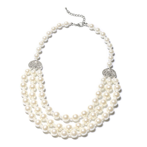 Simulated White Pearl Multi Strand Necklace (Size 20 with 3 inch Extender)
