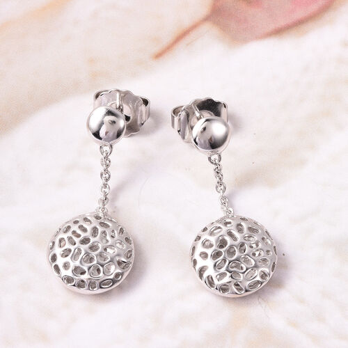 RACHEL GALLEY Rhodium  Overlay Sterling Silver Dangling Lattice Globe Earrings (with Push Back)