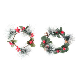 Set of 2 - Mini Candlestick wreath Embellished with Red Berry and Leaf (Size 7 Cm)