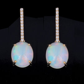 ILIANA 18K Yellow Gold AAAA Ethiopian Welo Opal ( OV 12X10 6.00 Cts) and Diamond (G-H/S-I) Earrings