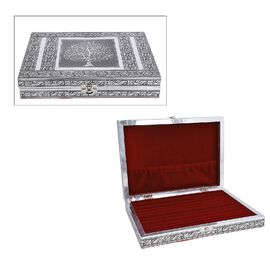 Close Out Deal- Teak Wood Tree Hand Crafted Aluminium Embossed  Ring Box (20X28X5CM)