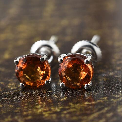 ILIANA 18K White Gold 1.25 Ct AAAA Orange Sapphire Solitaire Stud Earrings (with Screw Back)