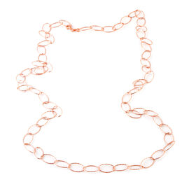 Made In Italy- Designer Inspired- Rose Gold Overlay Sterling Silver Giotto Oval Necklace (Size 36), Silver wt 8.22 Gms