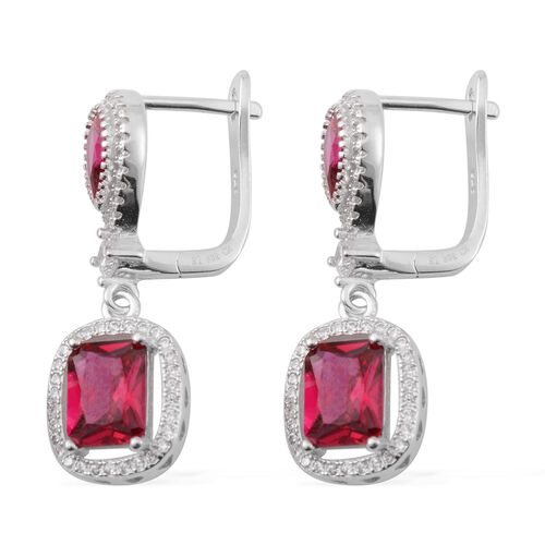 Brilliant Cut ELANZA AAA Simulated Ruby (Oct), Simulated Diamond Earrings (with Clasp Lock) in Rhodium Plated Sterling Silver.Stone Studded 124 Silver wt 8.50 Gms.