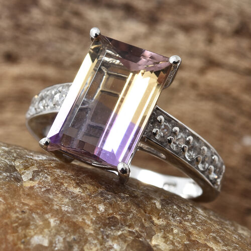 Anahi Ametrine (Bgt), Natural White Cambodian Zircon Ring in Platinum Overlay Sterling Silver 4.500 Ct
