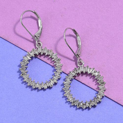 9K White Gold SGL Certified Diamond (Bgt) (G-H/I3) Lever Back Earrings 1.00 Ct.