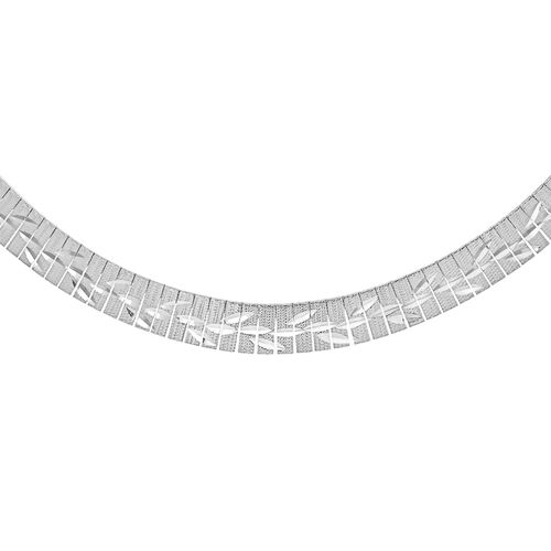 JCK Vegas Collection Rhodium Plated Sterling Silver Leaves Pattern Cleopatra Necklace (Size 17), Silver wt. 25.70 Gms.