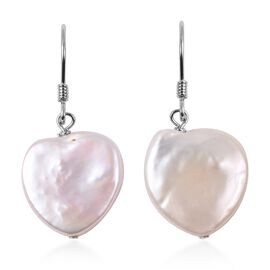 Freshwater White Pearl Heart Earrings in Rhodium Overlay Sterling Silver