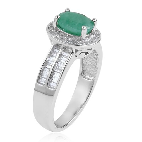 Rare Size Kagem Zambian Emerald (Ovl 8x6 mm), White Topaz Ring in Platinum Overlay Sterling Silver 1.750 Ct.