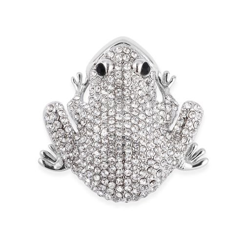 White and Black Austrian Crystal (Rnd) Frog Brooch in Silver Tone
