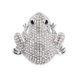 Frog Design White Austrian Crystal Magnetic Brooch in Silver Plated