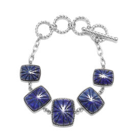 Lapis Lazuli Bracelet (Size 6 with 1.5 inch Extender) in Stainless Steel 65.50 Ct.