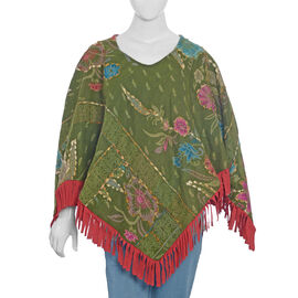 Hand Embroidered Adda Work Green and Multi Colour Poncho Size 79x57 cm