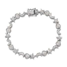 GP 1.52 Ct Diamond and Blue Sapphire Charm Bracelet in Platinum Plated Silver 11.20 Grams 7.5 Inch