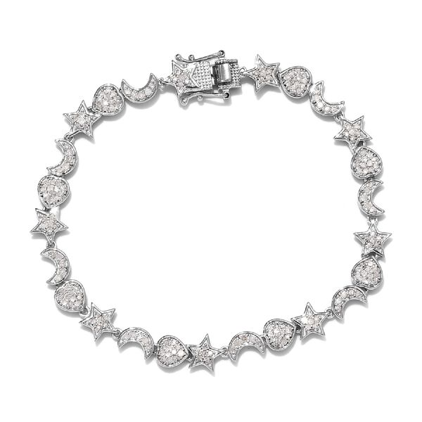 GP 1.52 Ct Diamond and Blue Sapphire Charm Bracelet in Platinum Plated Silver